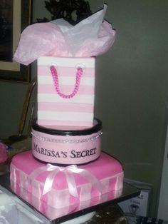 Marissa's VS inspired bridal shower cake by me!  10/4/13