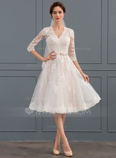 A-Line/Princess V-neck Knee-Length Bow(s) Zipper Up Covered Button Sleeves 1/2 Sleeves Hall Reception General Plus Winter Spring Summer Fall Other Colors Tulle Height:5.7ft Bust:31.9in Waist:22.8in Hips:33.1in US 2 / UK 6 / EU 32 Wedding Dress