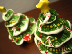 Christmas Tree Salt and Pepper Shakers – Vintage Decor - Made in Korea by fromThePeddlersCart on Etsy