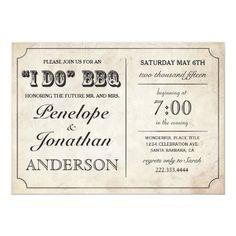 I DO BBQ Rustic Vintage Wedding Invitations