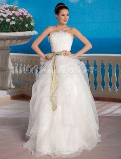 Duchesse-Linie Tülle bodenlang trägerloser Ausschnitt Brautkleid mit Schärpe - $184.99