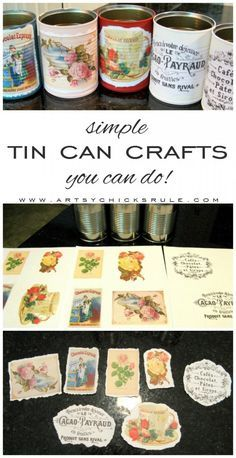 Simple Tin Can Crafts (perfect for gift giving! Aluminum Can Crafts, Tin Can Crafts, Crafts To Make And Sell, Metal Crafts, Aluminum Cans, Coffee Can Crafts, Rustic Crafts, Upcycled Crafts, Vintage Crafts