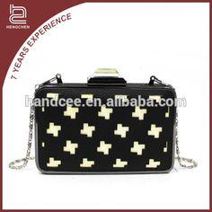 Fine in workmanship koean style fashionable PU black women handbags on sale