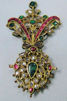Ottoman turban jewel. C. 18th century. Ruby, emerald and diamond.