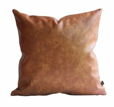 c53607e0 Details about Kdays Thick Faux Leather Pillow Cover Tan Decorative Couch  Throw Pillow Case