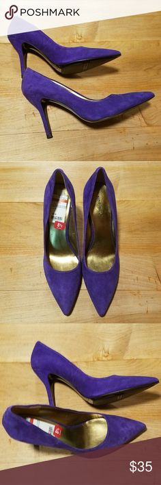 """Nine West Purple Suede Flax Pumps Classic pump in a gorgeous purple suede. New with tags but missing box. Smoke free home.  Leather Upper  Heel 3.5"""" Nine West Shoes Heels"""