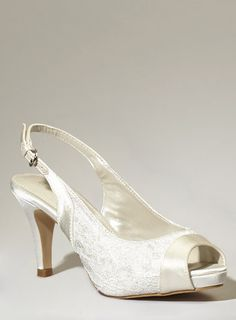 Ivory Fashion Wide Fit Daisy Platform Court Shoe