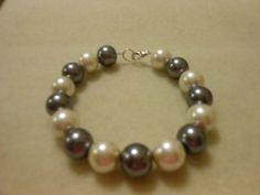 Bracelet gray and cream medium sized beads with by JewelrybyKN