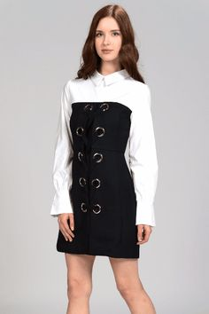 """DOUBLE LAYER FRONT LACE UP SHIRT DRESS Description: a shirt dress layered with black lace up eyelet in the front, back zipper. Unique & Elegant!  Size: S/M/L Color: White X Black Material: 100% Polyester Season: Fall Imported Hand Wash Cold Model's height is 5'8"""", wearing size S"""