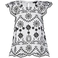 Ella Embroidered Shell Top (1.175 CZK) ❤ liked on Polyvore featuring tops, white tank top, embroidered tank, white scalloped tank top, white embroidered top and white tank