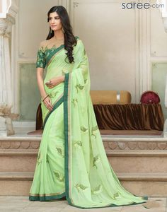 GREEN CHIFFON SAREE WITH EMBROIDERY WORK