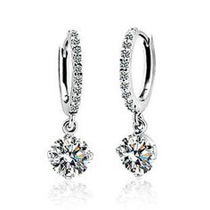 Timeless Elegant White Crystal Dangle Bridal Earrings. Glitzy Earrings