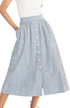 Main Image - Madewell Palisade Chambray Stripe Button Front Midi Skirt