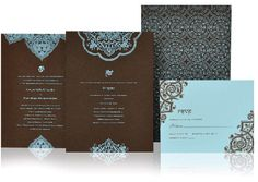 Blue and turquoise Indian wedding invitation by www.atelierisabey.com