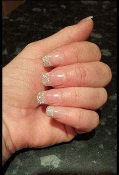 natural cnd acrylics with glitter tips