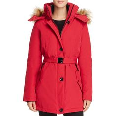 Vince Camuto Belted Stand Collar Parka (104.365 CLP) ❤ liked on Polyvore featuring outerwear, coats, cherry red, red parkas, vince camuto coats, red coat, faux fur trim parka and vince camuto parka