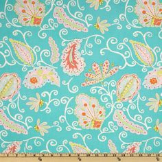Pretty Little Things Madeleine Paisley Teal - Discount Designer Fabric - Fabric.com