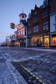 Snow in High Street, Guildford, Surrey, England at Christmas.