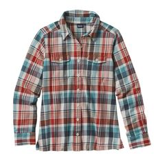 Patagonia Women\'s Long-Sleeved Fjord Flannel Shirt - Bay Laurel: Toasted White BLTW