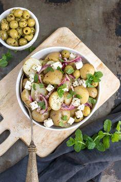 Greek Potato Salads, Greek Potatoes, Easy Potato Salad, Apple Cider Vinegar Lemon, Butter Beans, Greek Salad, Fresh Mint, Healthy Salad Recipes, Cooking With Kids
