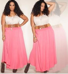 California Maxi Skirt - Coral Pink,          Boho-chic meets everyday sensibilities in this fold over maxi skirt. Our plus size, California Maxi Skirt is the perfect combination of coverage and style for any season.