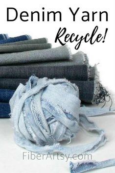 How to Make DIY Denim Yarn from Jeans. Upcycle or recycle your old jeans into yarn for knitting or crochet. by FiberArtsy Upcycled Crafts, Denim Crafts, Burlap Crafts, Fabric Crafts, Jean Crafts, Recycled Yarn, Recycled Denim, Handmade Crafts, Repurposed