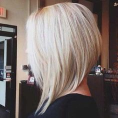 Blonde Bob hair with Inverted Cut Side View