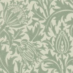 Thistle Wallpaper A beautiful wallpaper with thistle flowers printed in iridescent duck egg on a beige ground.