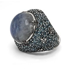 Stephen Dweck white moonstone doublet with a pave of London blue topaz ring