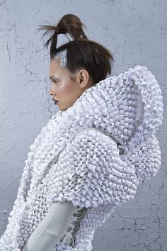 Experimental Fashion Design with intricate textures & 3D shapes - wearable art; sculptural fashion // Elin Johansson