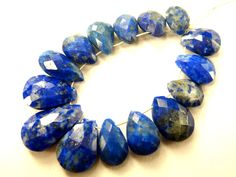 Lapis Lazuli Faceted Pear (Quality B) / 5.5x7.5 to 7.5x13.5 mm / 26.10 carats / 15 pieces / ST-3106 by beadsofgemstone on Etsy