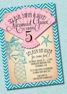 DIY Printable Vintage Mermaid Birthday Party Invitation. $15.00, via Etsy.