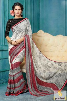 Black off white and tomato colored casual Saree is the perfect attire with fine printed and Lace patti works.