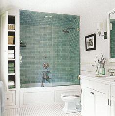 Bathroom Upgrade Ideas Blue Subway Tile With Bathtub Shower Combo In Bathroom With Bathtub Shower