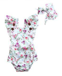 White Ruffle Baby Girl Summer Romper