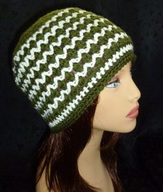 Crochet Beanie Stripe Beanie Unisex Hat Winter Fashion by berly731