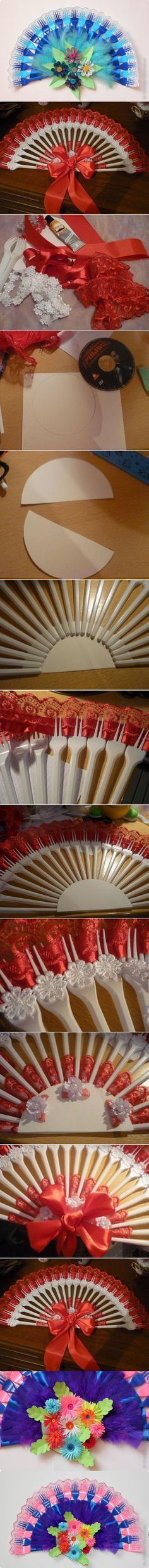 Wonderful DIY Disposable Fork Fan | WonderfulDIY.com.. using forks, craft glue, ribbon, flowers, feathers, and a semi circle plate for the middle to glue the forks and stuff on..