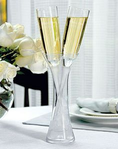 Wedding Champagne Flutes in a Vase