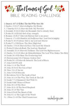 Just screenshot the graphic to your smartphone and mark it as a favorite for easy daily access. For a simple printable copy, click on the graphic or HERE and print out two copies of the Bible reading plan. Share one with a friend! Thank you so much for encouraging me to read God's Word each and every month as we continue to learn Scripture and apply it in our daily lives. My prayer is that we know with our all hearts that God is our God and this study of his names prompt us to know and love…