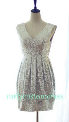 Hey, I found this really awesome Etsy listing at http://www.etsy.com/listing/172214518/short-silver-sequins-prom-dresscheap