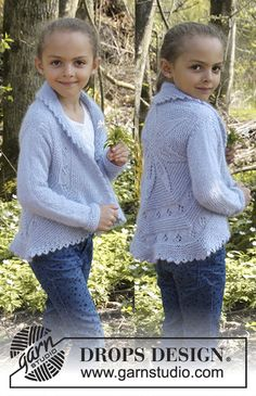 Alvina girls jacket by DROPS Design. Free knitting pattern
