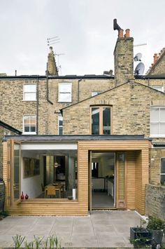 as you dont need complete throw- open at rear something like this box window could work, then you access garden from side? Extension Veranda, House Extension Plans, House Extension Design, Extension Designs, Roof Extension, House Design, Glass Extension, Extension Ideas, Victorian Terrace House