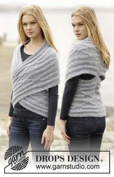Knitted DROPS shoulder piece with cables and short rows in Air. Free knitting pattern by DROPS Design. Poncho Knitting Patterns, Crochet Poncho, Knitted Shawls, Loom Knitting, Knit Patterns, Hand Knitting, Knit Shrug, Drops Design, Mode Crochet