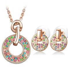 ?Lightning Deals?'Rainbow' Concentric Circle Women's Jewelry sets with Multicolored Swarovski Crystals Rose Gold Plated Pendant Earrings Statement Jewelry *** For more information, visit now : Jewelry