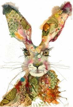 This whimsical watercolor of a hare by Sarah Weyman is delightful. The colors and the shapes and patterns within the hare are amazing. And those eyes are just incredible. Art And Illustration, Watercolour Illustration, Pintura Graffiti, Lapin Art, Arte Sketchbook, Rabbit Art, Bunny Rabbit, Bunny Art, Art Design