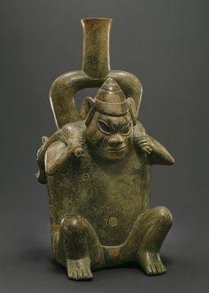 Stirrup-spout bottle: figure with deer, 12th–5th century b.c. Peru; Cupisnique