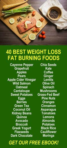 40 Best Weight Loss Fat Burning Foods. Get our FREE healthy weight loss eBook with suggested fitness plan, food diary, and exercise tracker. Learn about Zija's Moringa based product line that helps your body detox, cleanse, increase energy, burn fat, and