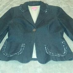 PHOEBE Blazer Jacket Charcoal Gray FLAW Beautiful, beautiful blazer, in near mint condition, save for the missing second button, such an easy fix for this pretty piece.  Thanks for looking, any questions, please ask. phoebe Jackets & Coats Blazers