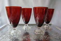 4 Pc Anchor Hocking Royal Ruby Boopie Glass Set of Tall Water Goblets Red Bowl Clear Stem Beaded Foot American Midcentury Vintage Stemware by SaltwaterVillage on Etsy