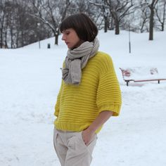 Good Morning-sweater / God morgen-genser pattern by Anna & Heidi Pickles Missoni, Learn How To Knit, How To Wear, Cool Sweaters, Knit Sweaters, Couture, Lana, Knitwear, Knit Crochet